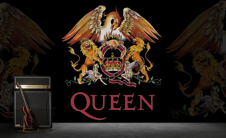queen band mural with electric guitar and amplifier