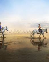 Beach Horse Riding mural wallpaper thumbnail