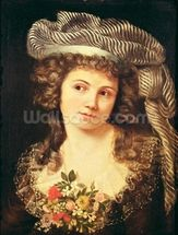 Portrait of a young woman in the style of Labille-Guiard (oil on canvas) wallpaper mural thumbnail