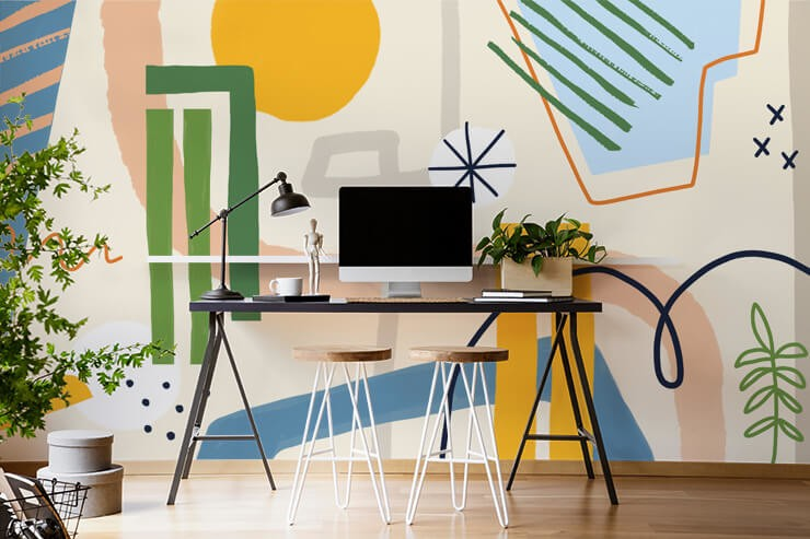 orange, peach, green line art on beige background wallpaper in cool home office