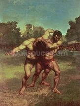 The Wrestlers, 1853 wallpaper mural thumbnail