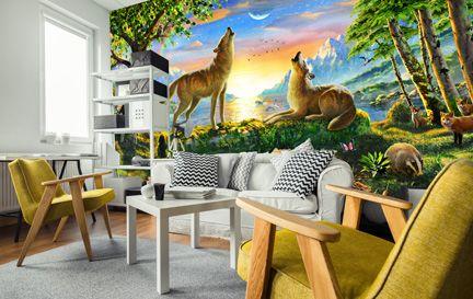 wolf wallpaper and wolves wall murals wallsauce canada
