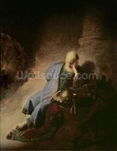 Jeremiah mourning over the Destruction of Jerusalem, 1630 (oil on canvas) mural wallpaper thumbnail