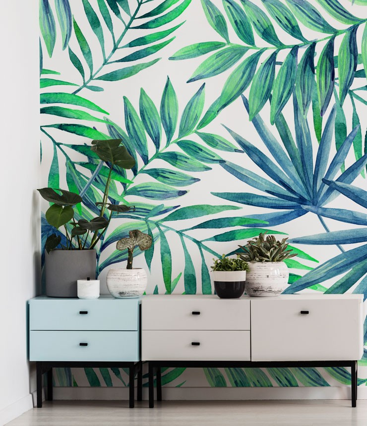 blue and green palm print wallpaper