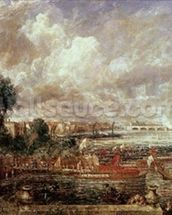 The Opening of Waterloo Bridge, Whitehall Stairs, 18th June 1817 (oil on canvas) mural wallpaper thumbnail
