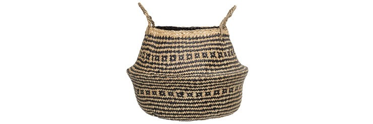 boho style basket with black tribal pattern