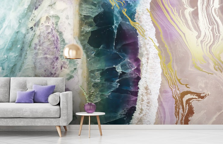 geode gem wallpaper in living room