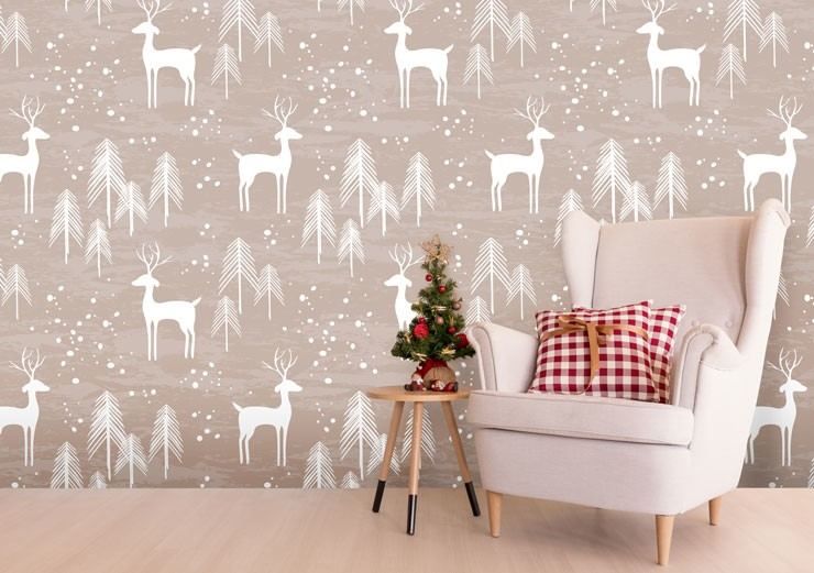 deer pattern wallpaper in christmas lounge