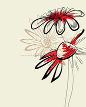 Artistic Abstract Flowers mural wallpaper thumbnail