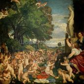 The Worship of Venus, 1519 (oil on canvas) mural wallpaper thumbnail