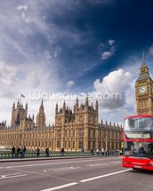 Double Decker Bus on Westminster Bridge wallpaper mural thumbnail