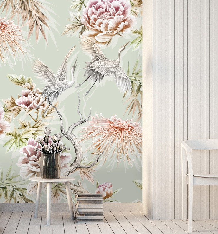 pale blue, floral and heron bird wallpaper in subtle white lounge are
