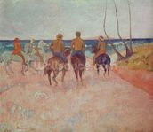 Horseman on the Beach (Hiva Hoa) 1902 (oil on canvas) mural wallpaper thumbnail