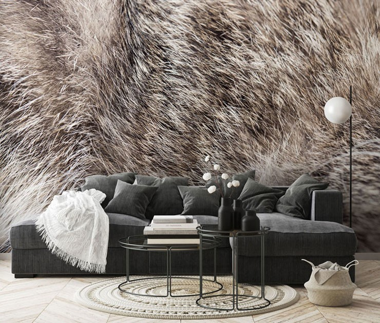 cat fur mural in grey coloured lounge