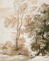 Trees and Deer, after Claude, 1825 (pen & ink with wash on paper) wallpaper mural thumbnail