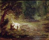 The Death of Ophelia, 1838 (oil on canvas) mural wallpaper thumbnail