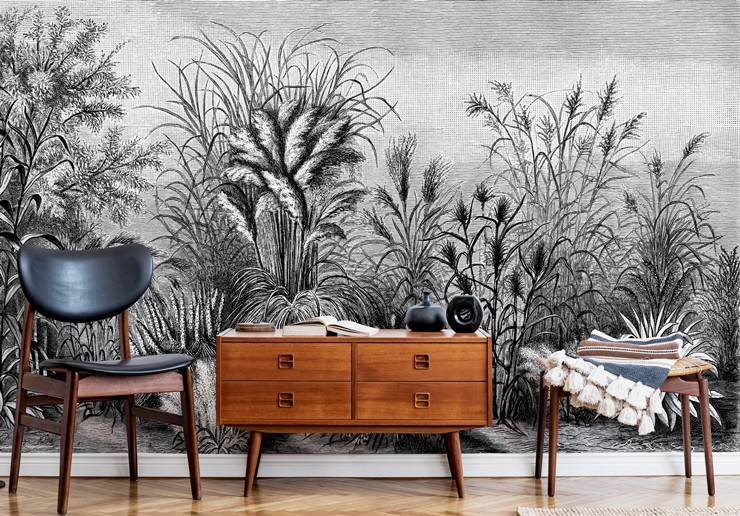antique jungle wallpaper in living room