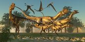 Dilophosaurus Hunt wallpaper mural thumbnail