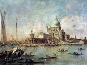 Venice, The Punta della Dogana with Santa Maria della Salute, c.1770 (oil on canvas) wallpaper mural thumbnail