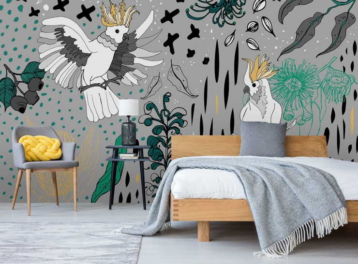 illustration of cockatoos on grey background wallpaper in grey and yellow bedroom