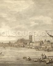 The Thames Looking towards Westminster from near York Water Gate (pen and brown ink with grey wash on paper) wall mural thumbnail