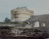 Castle of San Angelo, Rome (w/c on paper) mural wallpaper thumbnail
