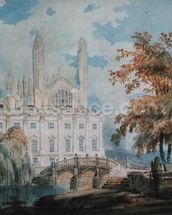 Clare Hall and the West End of Kings College Chapel, Cambridge, from the banks of the River Cam, 1793 (pencil & w/c on paper) wallpaper mural thumbnail