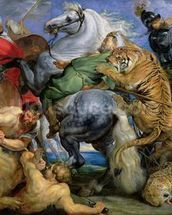 The Tiger Hunt, c.1616 (oil on canvas) wallpaper mural thumbnail