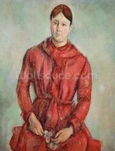 Portrait of Madame Cezanne in a Red Dress, c.1890 (oil on canvas) mural wallpaper thumbnail