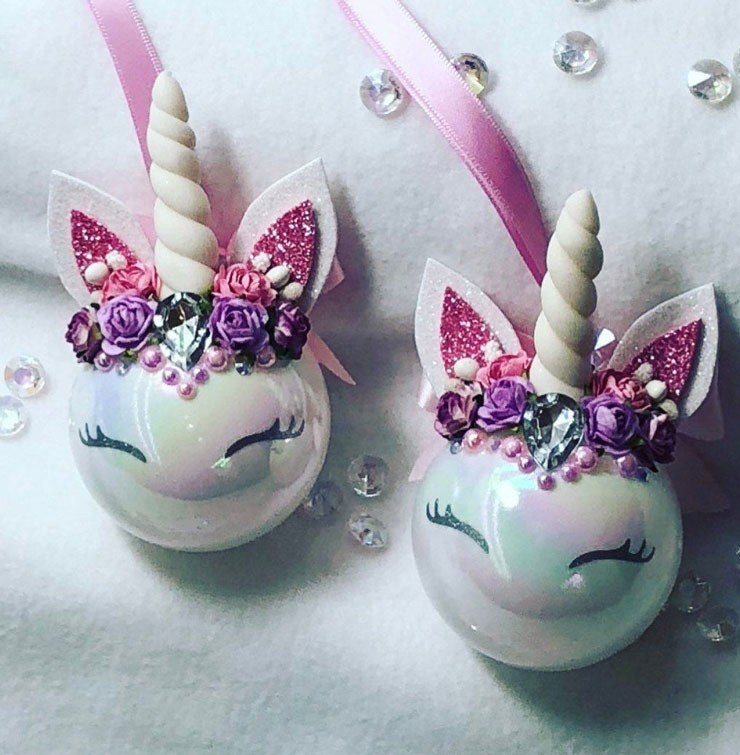 unicorn head baubles