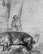 The Sow, 1643 (etching) (b/w photo) wallpaper mural thumbnail