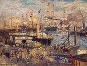 Grand Quai at Havre, 1872 (oil on canvas) wall mural thumbnail