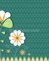 Poppies on Teal Illustration wallpaper mural thumbnail