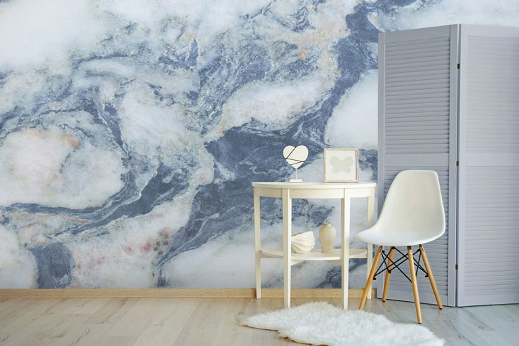 blue and white marble in simple modern room