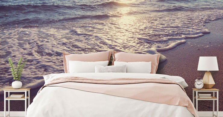 Sunset beach wallpaper in pretty bedroom