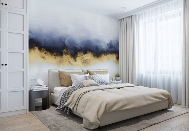 stylish navy and metallic gold wallpaper in modern bedroom
