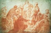The Doubting Thomas (red chalk on paper) wall mural thumbnail