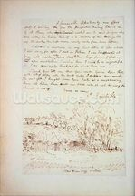 Autograph letter from John Constable to John Thomas Smith, from Memoirs of the Life of John Constable, by Charles Robert Leslie, printed by James Carpenter, 1843 (litho) mural wallpaper thumbnail