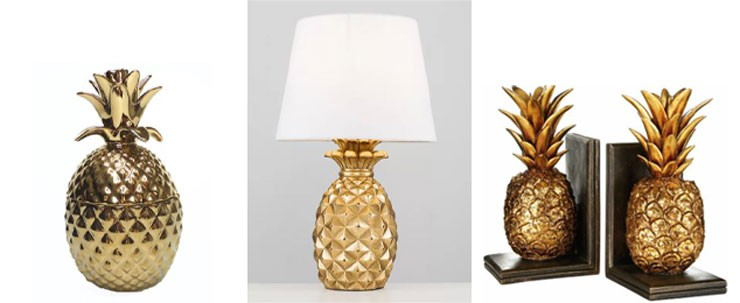 golden pineapple ornaments from Wayfair