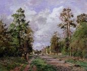 The road to Louveciennes at the edge of the wood, 1871 mural wallpaper thumbnail