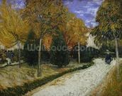 Path in the Park at Arles, 1888 (oil on canvas) mural wallpaper thumbnail