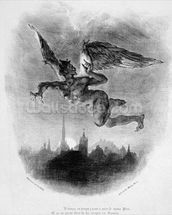 Mephistopheles Prologue in the Sky, from Goethes Faust, 1828, (illustration), (b/w photo of lithograph) mural wallpaper thumbnail