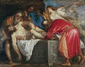 The Entombment of Christ, 1559 (oil on canvas) mural wallpaper thumbnail