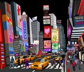 Abstract NY Times Square mural wallpaper thumbnail