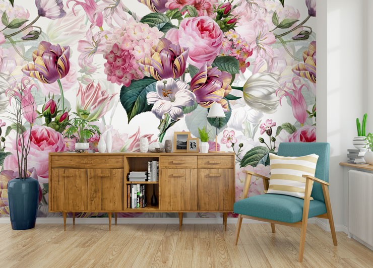 pink, white and green floral wallpaper in modern lounge
