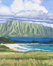 Pyramid Rock And Kualoa Point mural wallpaper thumbnail