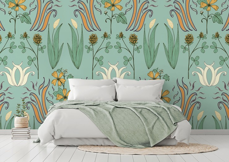 art nouveau pastel blue and ochre floral pattern in calming bedroom