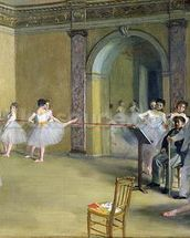 The Dance Foyer at the Opera on the rue Le Peletier, 1872 (oil on canvas) wallpaper mural thumbnail
