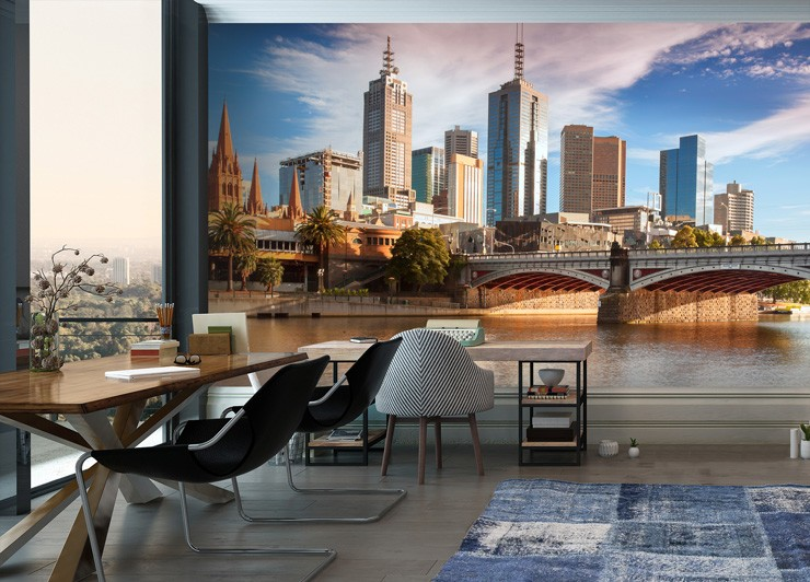 trendy office with city wall mural