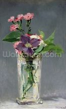 Pinks and Clematis in a Crystal Vase, c.1882 (oil on canvas) mural wallpaper thumbnail